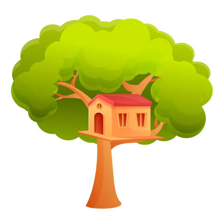 Child tree house icon. Cartoon of child tree house icon for web design isolated on white background Illustration