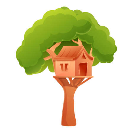 Outdoor tree house icon. Cartoon of outdoor tree house icon for web design isolated on white background