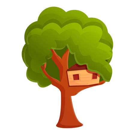Childhood treehouse icon. Cartoon of childhood treehouse vector icon for web design isolated on white background