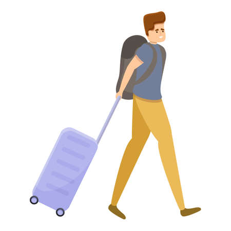 Tourist man with travel bag icon. Cartoon of tourist man with travel bag vector icon for web design isolated on white background