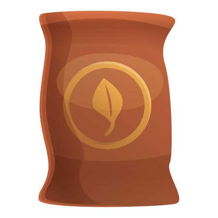 Fertilizer leaf sack icon. Cartoon of fertilizer leaf sack vector icon for web design isolated on white background
