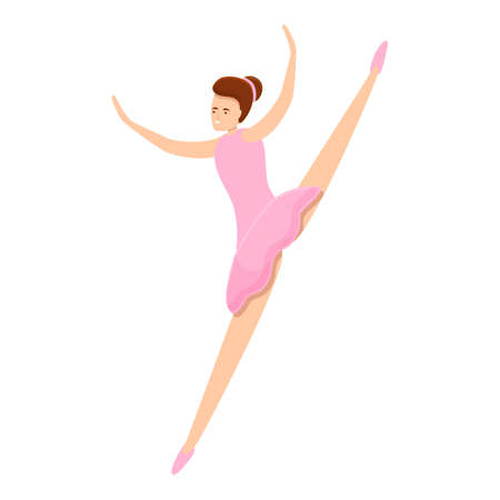 Ballerina class jump icon. Cartoon of ballerina class jump icon for web design isolated on white background