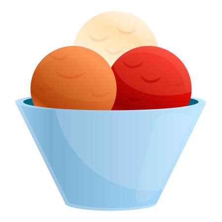 Farm ice cream balls icon. Cartoon of farm ice cream balls vector icon for web design isolated on white background  イラスト・ベクター素材