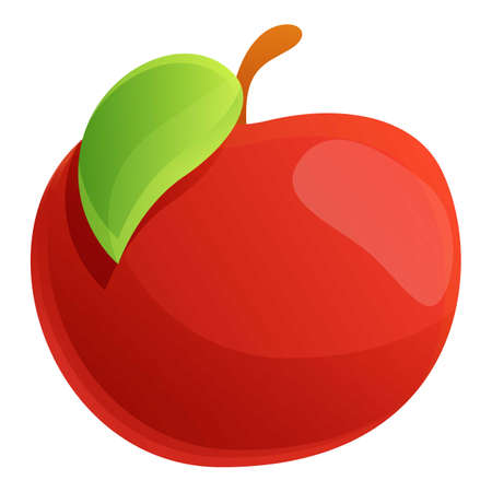 Farm red apple icon. Cartoon of farm red apple icon for web design isolated on white background
