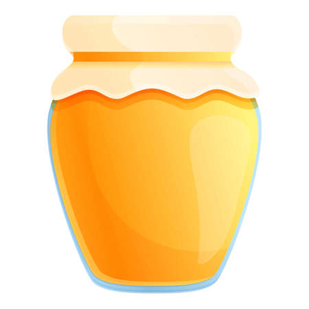 Farm honey jar icon. Cartoon of farm honey jar icon for web design isolated on white background