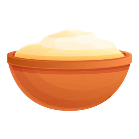 Sour cream bowl icon. Cartoon of sour cream bowl vector icon for web design isolated on white background