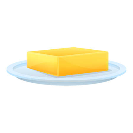 Farm butter plate icon. Cartoon of farm butter plate vector icon for web design isolated on white background  イラスト・ベクター素材