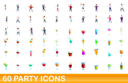 60 party icons set. Cartoon illustration of 60 party icons vector set isolated on white background  イラスト・ベクター素材