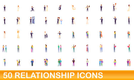 50 relationship icons set. Cartoon illustration of 50 relationship icons vector set isolated on white background