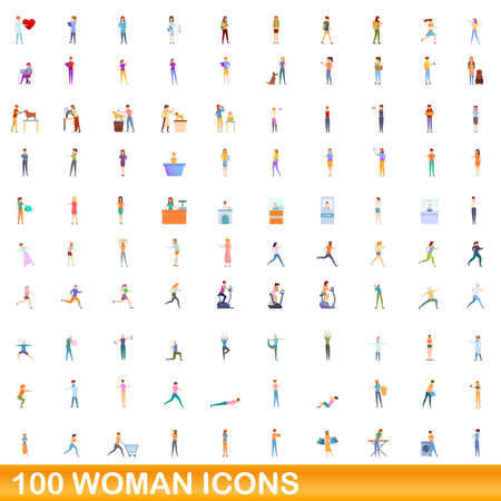 100 woman icons set. Cartoon illustration of 100 woman icons vector set isolated on white background