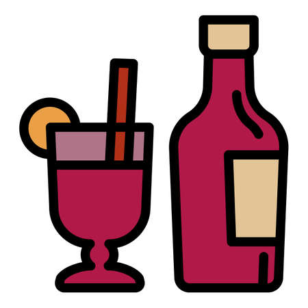 Mulled wine bottle icon. Outline mulled wine bottle vector icon for web design isolated on white background