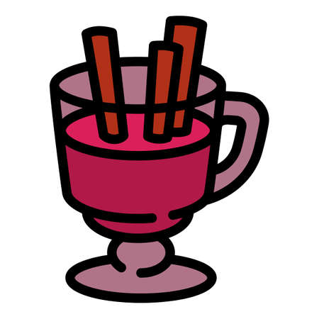 Mulled wine glass icon. Outline mulled wine glass vector icon for web design isolated on white background  イラスト・ベクター素材