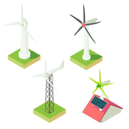 Wind turbine icons set. Isometric set of wind turbine vector icons for web design isolated on white background