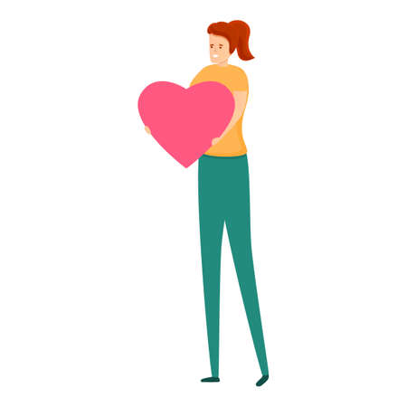 Girl give affection heart icon. Cartoon of girl give affection heart vector icon for web design isolated on white background