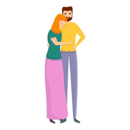 Happy hug couple icon. Cartoon of happy hug couple vector icon for web design isolated on white background  イラスト・ベクター素材