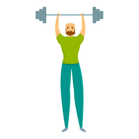 Barbell personal trainer icon. Cartoon of barbell personal trainer vector icon for web design isolated on white background  イラスト・ベクター素材