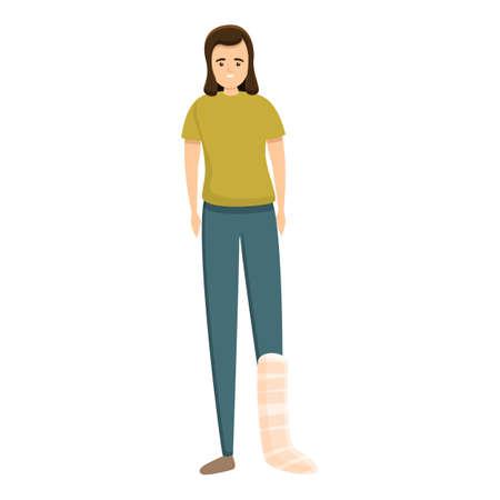 Woman leg bandage icon. Cartoon of woman leg bandage vector icon for web design isolated on white background