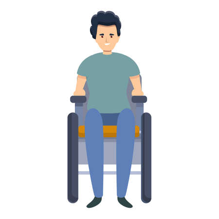 Boy in wheelchair icon. Cartoon of boy in wheelchair vector icon for web design isolated on white background