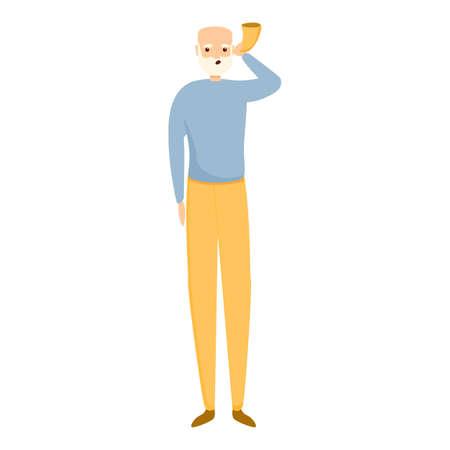 Senior man with sound tool icon. Cartoon of senior man with sound tool vector icon for web design isolated on white background