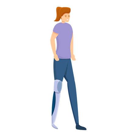 Girl leg amputated icon. Cartoon of girl leg amputated vector icon for web design isolated on white background