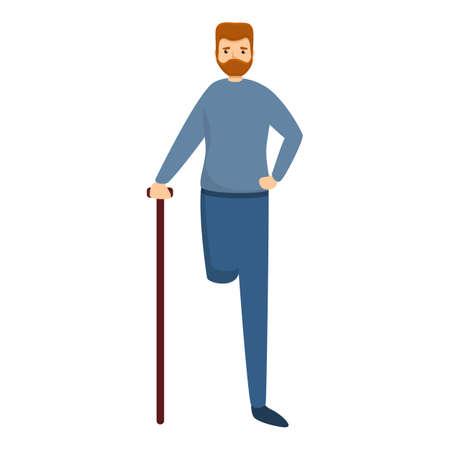 Sad man with amputated leg icon. Cartoon of sad man with amputated leg vector icon for web design isolated on white background