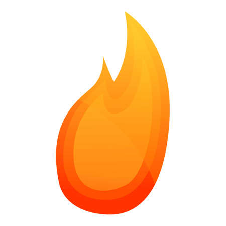 Shiny fire flame icon. Cartoon of shiny fire flame vector icon for web design isolated on white background