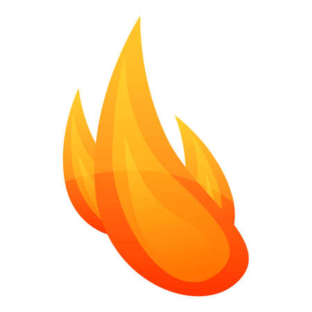 Orange fire flame icon. Cartoon of orange fire flame vector icon for web design isolated on white background