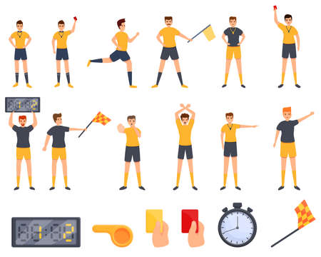 Referee icons set. Cartoon set of referee vector icons for web design