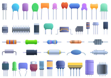 Capacitor icons set. Cartoon set of capacitor vector icons for web design