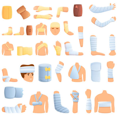 Bandage icons set. Cartoon set of bandage vector icons for web design Illustration
