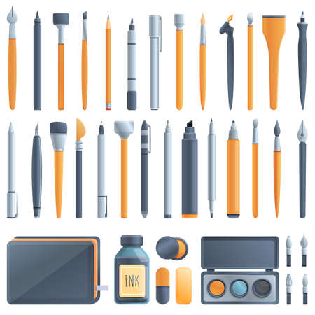 Calligraphy tools icons set. Cartoon set of calligraphy tools vector icons for web design