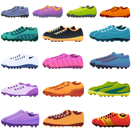 Football boots icons set. Cartoon set of football boots vector icons for web design