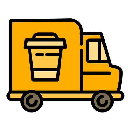 Coffee cup truck icon. Outline coffee cup truck vector icon for web design isolated on white background