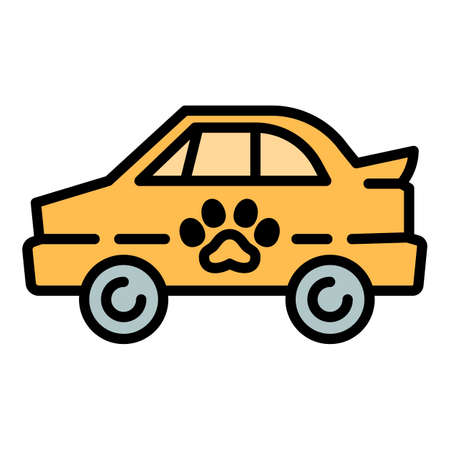 Pet car taxi icon. Outline pet car taxi vector icon for web design isolated on white background