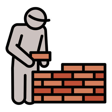 Masonry worker wall icon. Outline masonry worker wall vector icon for web design isolated on white background
