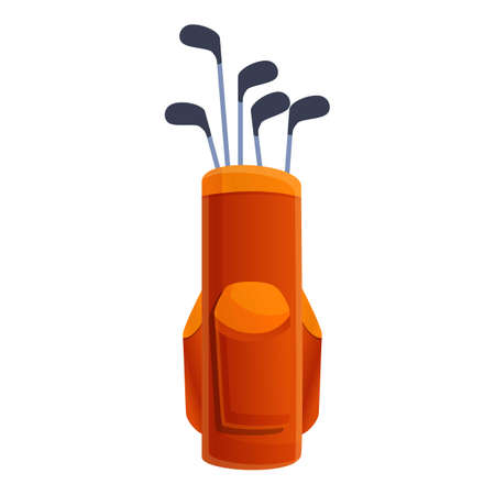 Leather golf bag icon. Cartoon of leather golf bag vector icon for web design isolated on white background Vecteurs