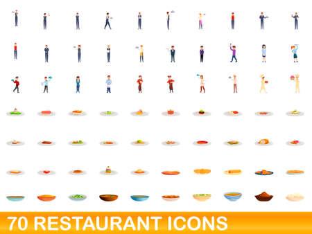 70 restaurant icons set. Cartoon illustration of 70 restaurant icons vector set isolated on white background