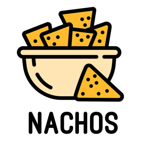 Nachos icon. Outline nachos vector icon for web design isolated on white background Vettoriali