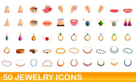 50 jewelry icons set. Cartoon illustration of 50 jewelry icons vector set isolated on white background