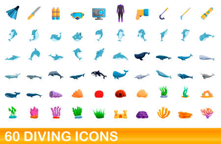 60 diving icons set. Cartoon illustration of 60 diving icons vector set isolated on white background