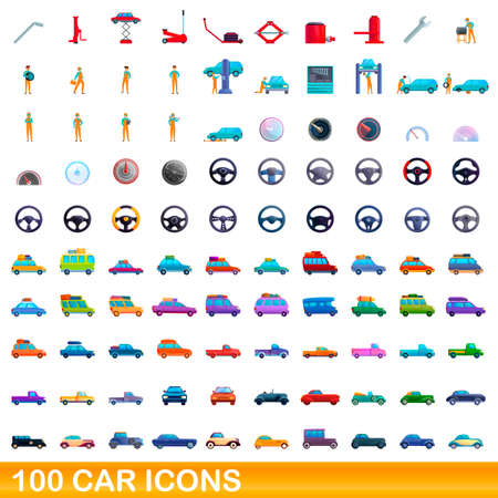 100 car icons set. Cartoon illustration of 100 car icons vector set isolated on white background