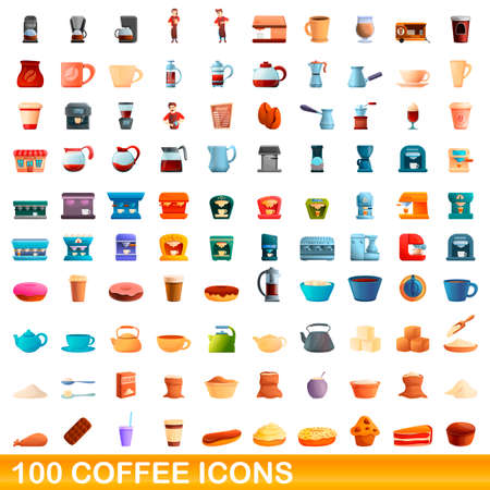 100 coffee icons set. Cartoon illustration of 100 coffee icons vector set isolated on white background 矢量图像