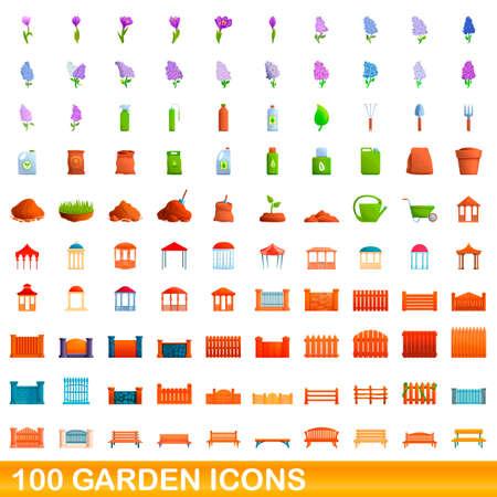 100 garden icons set. Cartoon illustration of 100 garden icons vector set isolated on white background