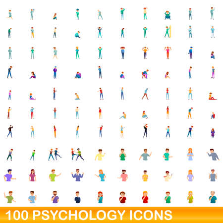100 psychology icons set. Cartoon illustration of 100 psychology icons vector set isolated on white background