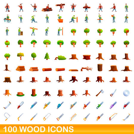 100 wood icons set. Cartoon illustration of 100 wood icons vector set isolated on white background