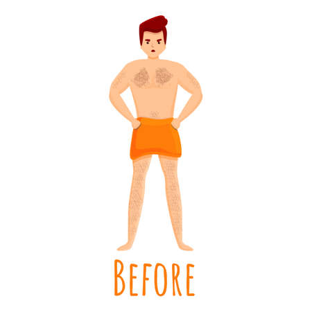 Man before laser hair removal icon. Cartoon of man before laser hair removal vector icon for web design isolated on white background