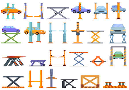 Car lift icons set. Cartoon set of car lift vector icons for web design