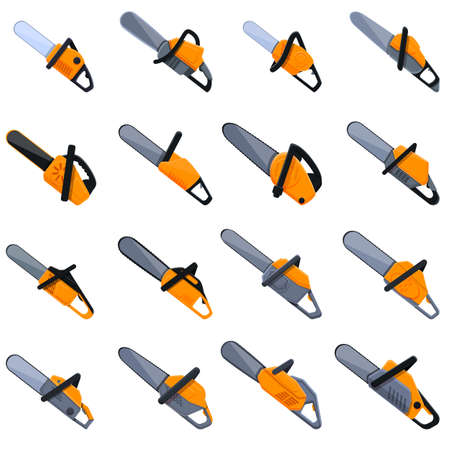 Electric saw icons set. Cartoon set of electric saw vector icons for web design