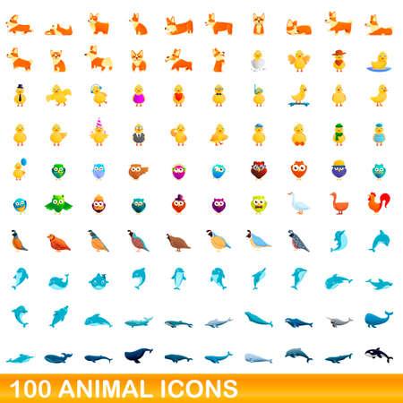 100 animal icons set. Cartoon illustration of 100 animal icons vector set isolated on white background Illusztráció