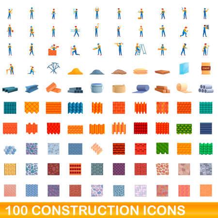 100 construction icons set. Cartoon illustration of 100 construction icons vector set isolated on white background Vettoriali